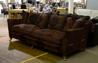 Large knole fabric sofa with castors clearance sale